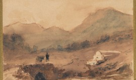 Лагорио Лев.Горный пейзаж с фигурой на мосту