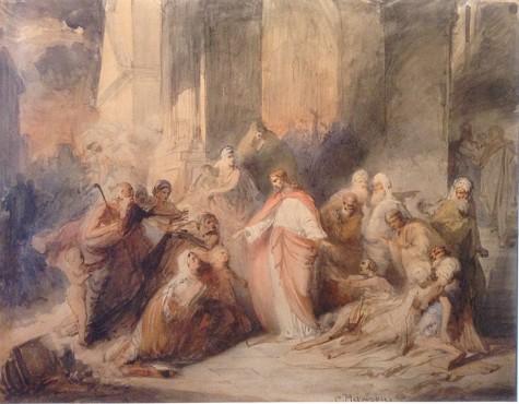 Маковский Константин. Исцеление Иисусом Христом слепых после изгнания торгующих из Храма.