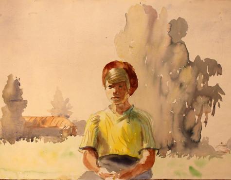 Каневский Аминадав. Сидящая на фоне деревьев.