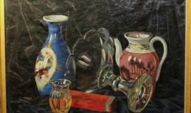 Михаил Леблан — Натюрморт с вазами и фарфоровым чайником