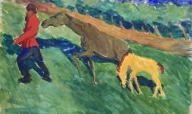 Александр Яковлев — Мужик с лошадью и жеребенком