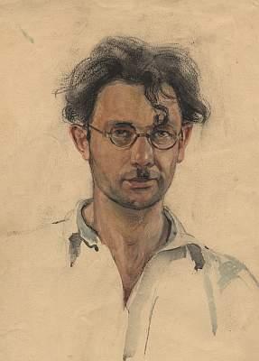 """Михаил Рудаков """"Автопортрет"""" Бумага, акварель. Котлас, 1950"""