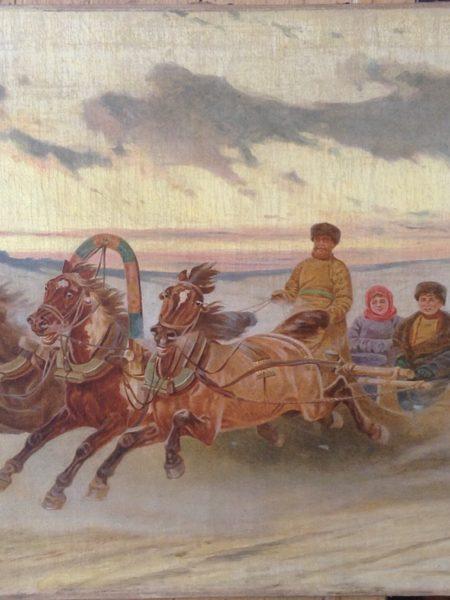 Грузинский Петр. На тройке по зимней дороге.