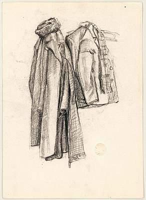 """Михаил Рудаков """"Одежда на вешалке"""" Бумага, карандаш. Котлас, 1952"""