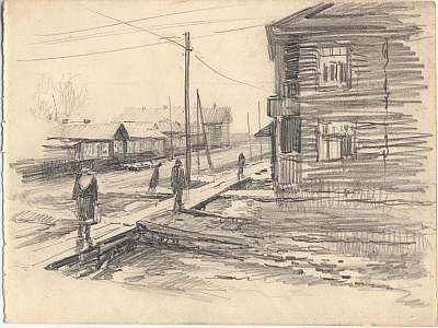 "Михаил Рудаков ""Улицы Котласа"" Бумага, карандаш. Котлас, 1952"