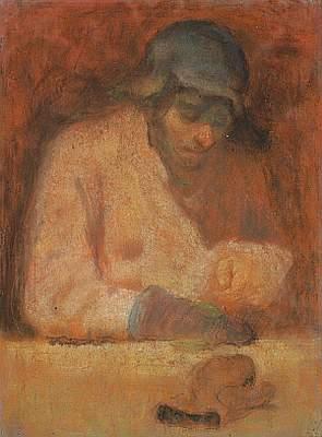 """Михаил Рудаков """"Зэк, штопающий рукавицу. Из серии """"ГУЛАГ"""" Бумага, пастель. 1953"""