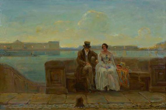 В. Кучумов «Пара на берегу реки» 1920