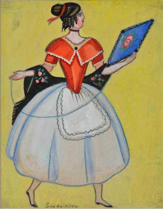 С. Судейкин «Эскиз костюма к оперетте «Летучая мышь» 1921