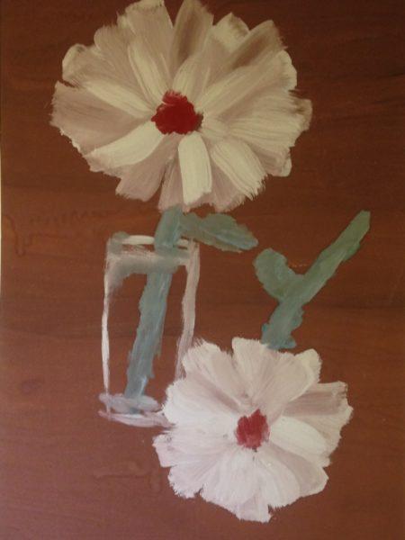 Яковлев Владимир. Два цветка на бордовом фоне.
