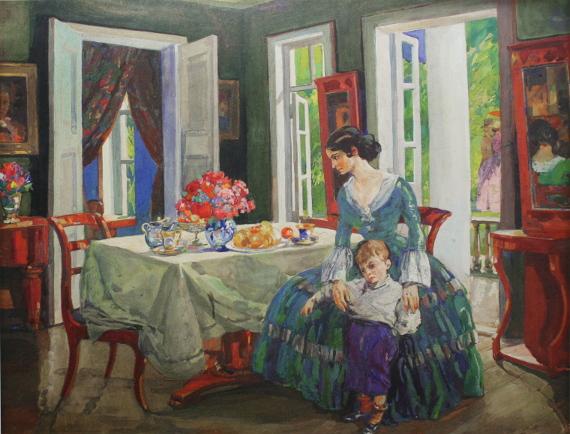 Николай Шестопалов «Семья в интерьере» 1910-е