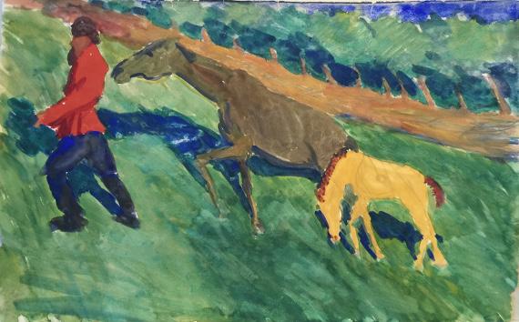 Яковлев Александр. Мужик с лошадью и жеребенком.
