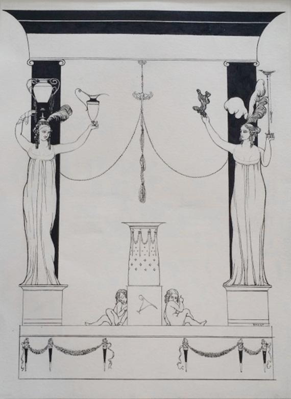 Лев Бакст «Декоративный мотив» 1900-е. Бумага, графитный карандаш, перо, тушь.
