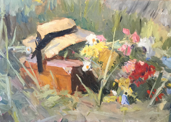 Сергей Герасимов «Букет и шляпа на лугу» 1950-е