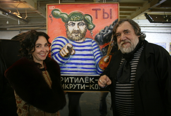 Художник Дмитрий Шагин и директор галереи ВЕЛЛУМ Любовь Агафонова