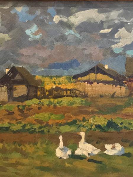 Туржанский Леонард. Пейзаж с утками. Ветреный день.