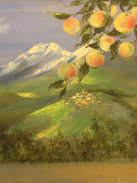 Вильямс Пётр. Ветка яблони на фоне горного пейзажа.