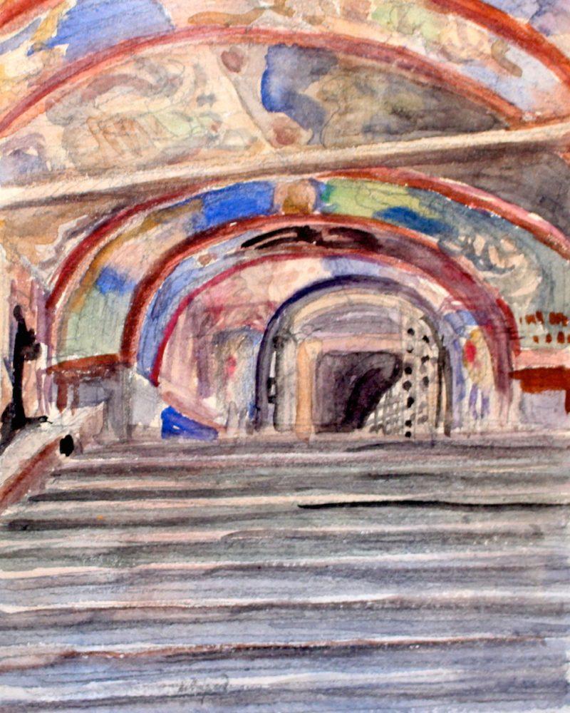 Щусев Алексей. Росписи паперти храма в Новгороде.