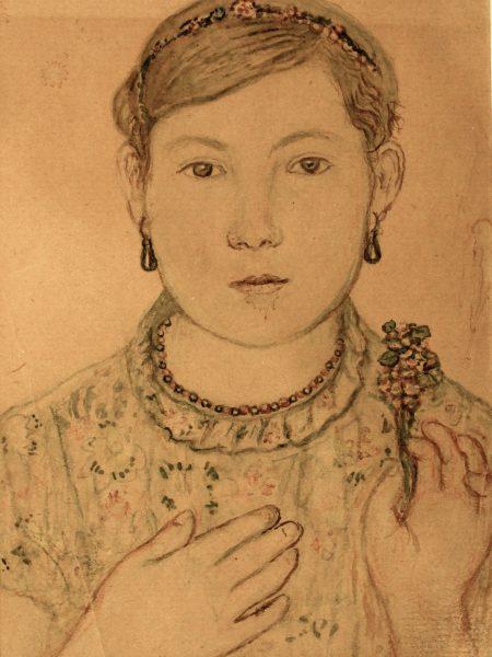 Честняков Ефим. Маша с цветком.