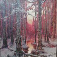 Клевер Юлиан. Закат в зимнем лесу.