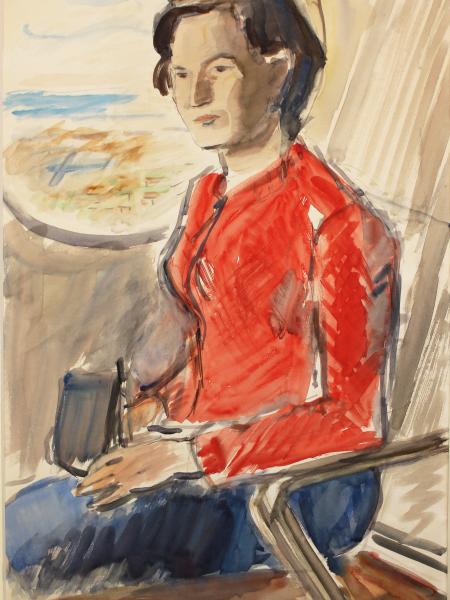 Лабас Александр. Девушка в самолете.