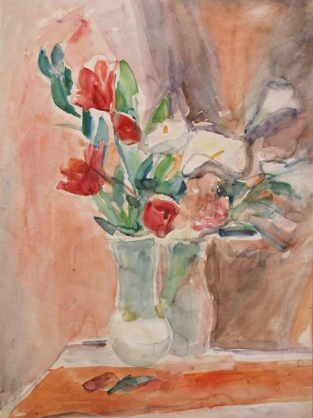 Лабас Александр. Красные цветы на розовом фоне.