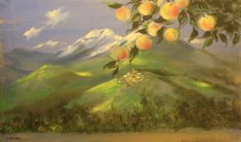 Петр Вильямс — Ветка яблони на фоне горного пейзажа