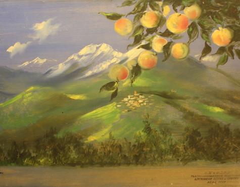 Вильямс Пётр. Ветка яблони на фоне горного пеи?зажа.