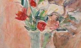 Александр Лабас — Красные цветы на розовом фоне