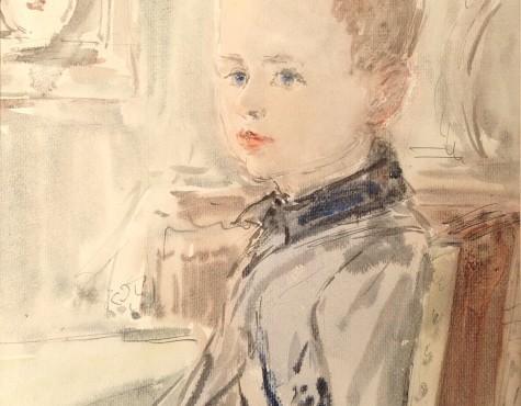 Софронова Антонина. Внук на фоне картины.